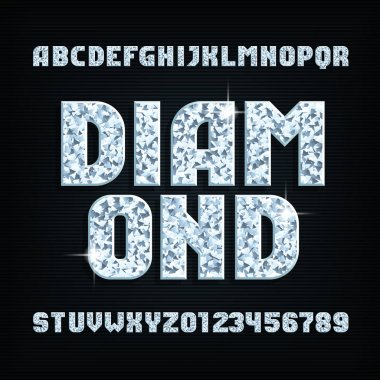 Diamond crystal alphabet font. Shiny bright letters and numbers. Stock vector typeface for your design.