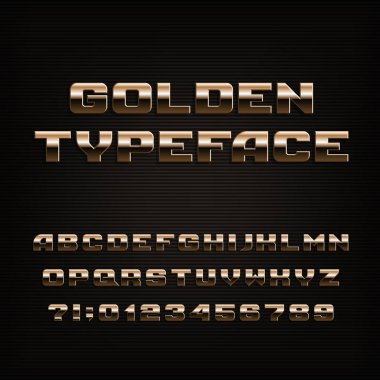 Beveled golden alphabet font. Metallic effect letters, numbers and symbols. Stock vector typeset.