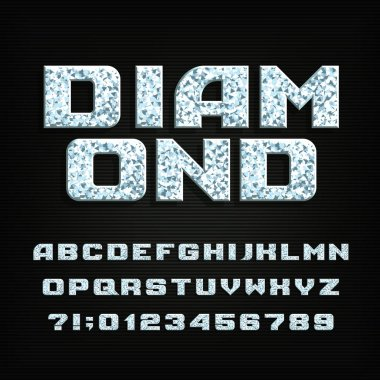 Diamond crystal alphabet font. Shiny bright letters, symbols and numbers. Stock vector typography for your design.