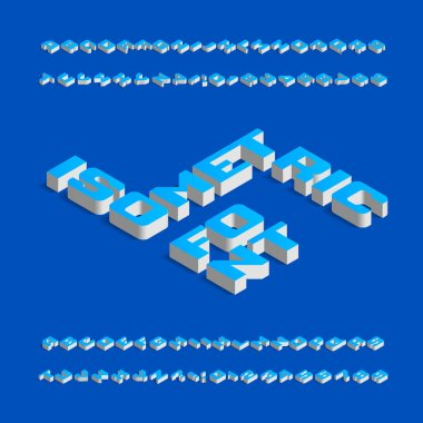 Isometric alphabet font. Three-dimensional effect uppercase letters and numbers with shadow. Stock vector typeface for your design.