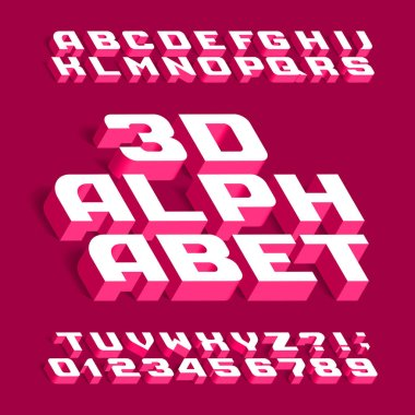 3D alphabet font. Three-dimensional effect letters, numbers and symbols with shadow. Stock vector typeface for your design.
