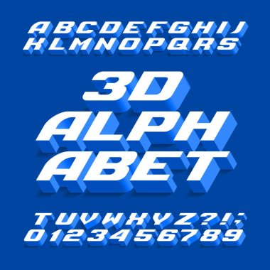 3D alphabet font. Three-dimensional effect letters, numbers and symbols with shadow. Stock vector typography for your design.