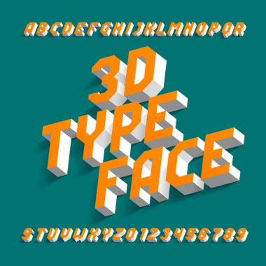 3D alphabet font. Simple three-dimensional effect geometric letters and numbers with shadow. Stock vector typeface for your design.
