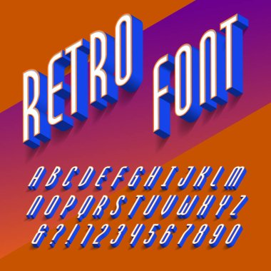 3D retro alphabet font. Three-dimensional effect letters, numbers and symbols with shadow. Stock vector typography for your design.