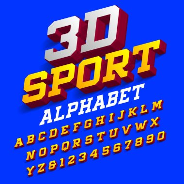 3D sport alphabet font. Three-dimensional effect retro letters and numbers with shadow. Stock vector typeface for your design.