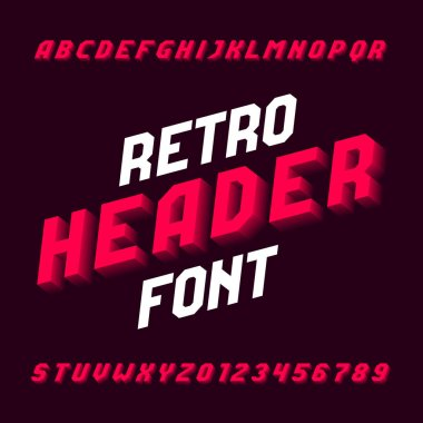Retro header alphabet font. Three-dimensional effect letters, numbers and symbols with shadow. Stock vector typography for your design.