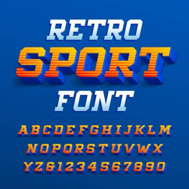Retro sport alphabet font. Three-dimensional effect bright letters and numbers with shadow. Stock vector typeface for your design.