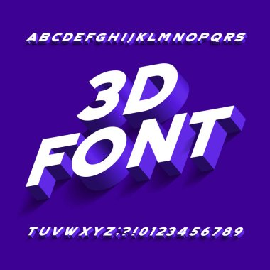 3D alphabet font. Three-dimensional effect sans serif letters, numbers and symbols with shadow. Stock vector typography for your design.