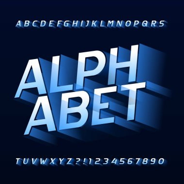 Abstract alphabet typeface. 3D effect letters, numbers and symbols. Stock vector typography for your headers or any typography design.