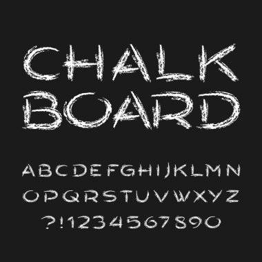 Chalk board alphabet font. Hand drawn grunge letters, numbers and symbols. Stock vector typeface.