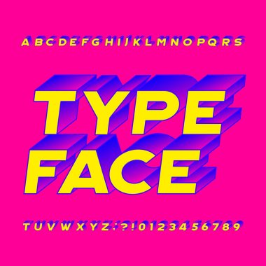 Abstract alphabet typeface. 3D effect colorful letters, numbers and symbols. Stock vector typography for your headers or any typography design.