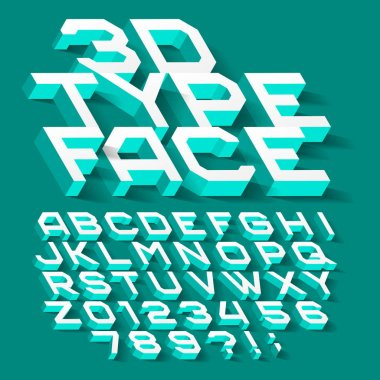 3D alphabet font. Three-dimensional typeface. Letters, numbers and symbols with shadow. Stock vector typography for your design.