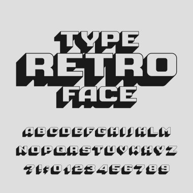 Abstract retro alphabet typeface. 3D effect letters, numbers and symbols. Stock vector typography for design.