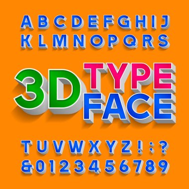 3D alphabet font. Three-dimensional typescript. Letters, numbers and symbols with shadow. Stock vector typography for your design.