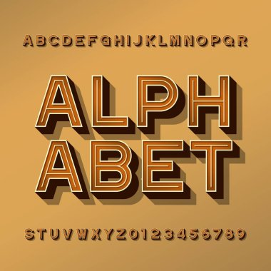 Retro alphabet typeface. 3D effect letters, numbers and symbols with shadow. Stock vector typescript for your design.