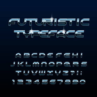 Futuristic alphabet font. Beveled metal effect shiny letters and numbers. Stock vector typescript for your design.