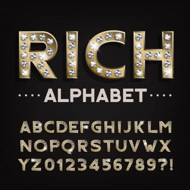 Rich alphabet font. Gold letters and numbers with diamonds. Stock vector typescript for your design.