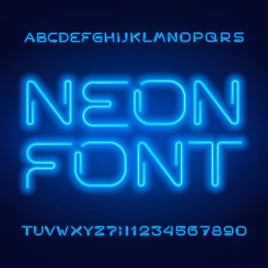 Blue neon tube alphabet font. Neon color modern style letters, numbers and symbols. Stock vector typeface for your typography design.