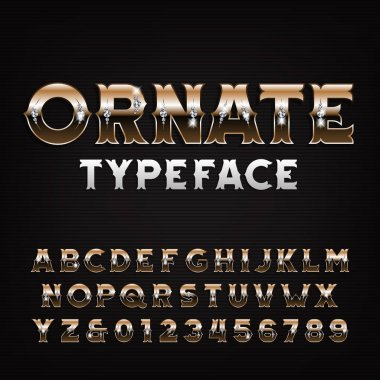 Ornate alphabet font. Golden letters and numbers with diamonds. Stock vector typescript for your design.