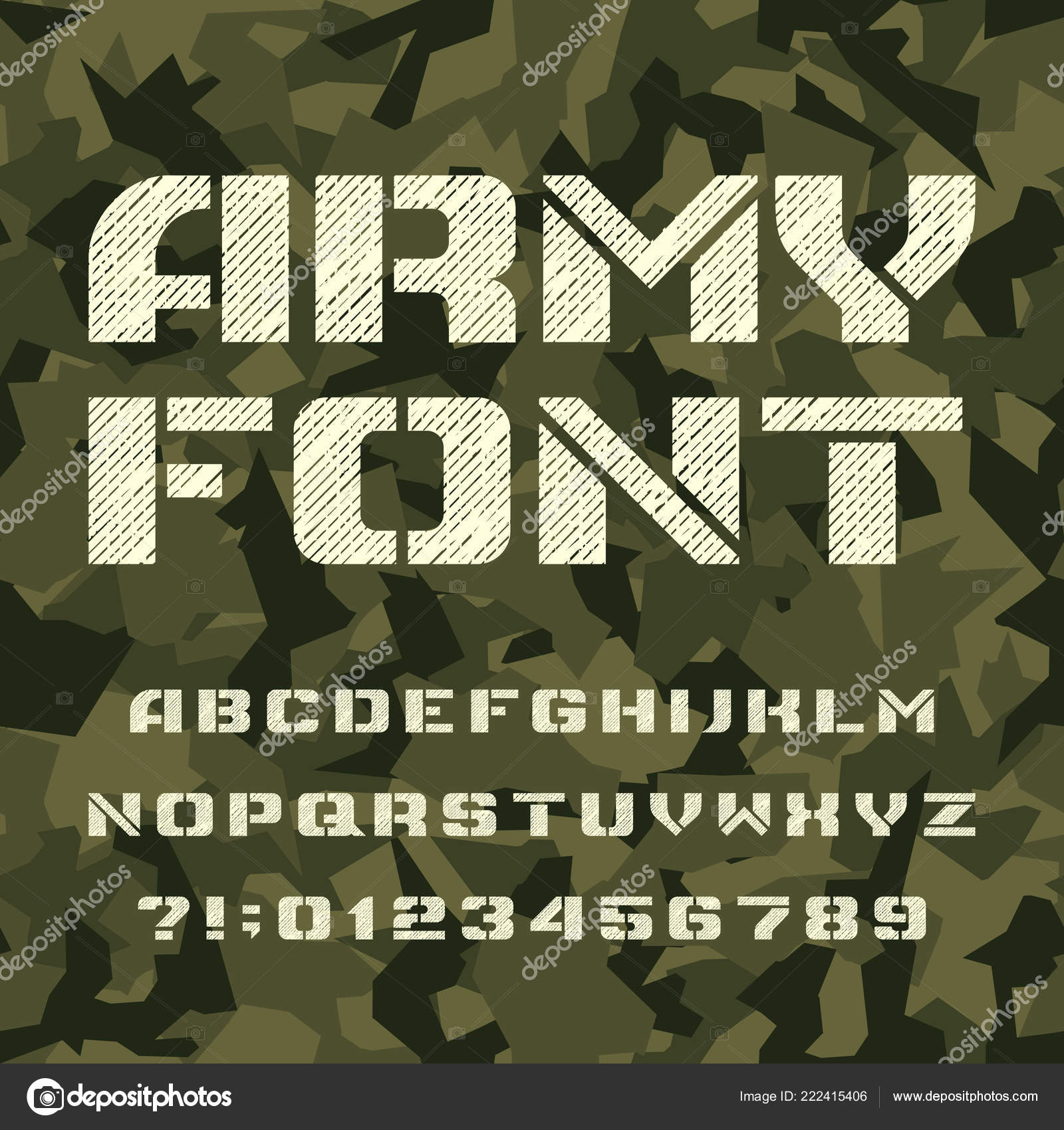 Army Stencil Alphabet Font Type Letters Numbers Seamless Camo
