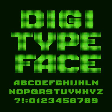 Digital alphabet font. Led display pixel letters and numbers. Stock vector typography for your design.
