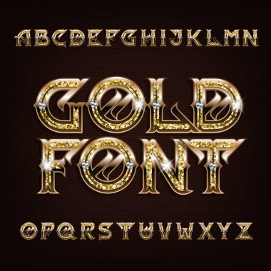Gold alphabet font. Golden letters and numbers with diamonds. Stock vector typography for your design.