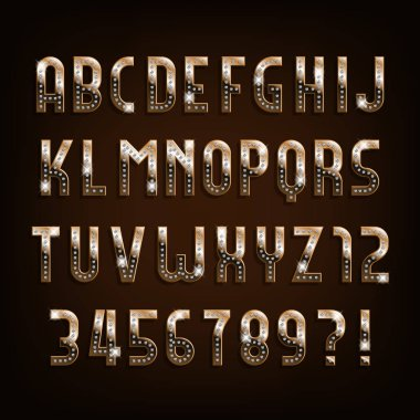 Diamond gold alphabet font. Golden letters and numbers with gemstones. Stock vector typeface for your design.
