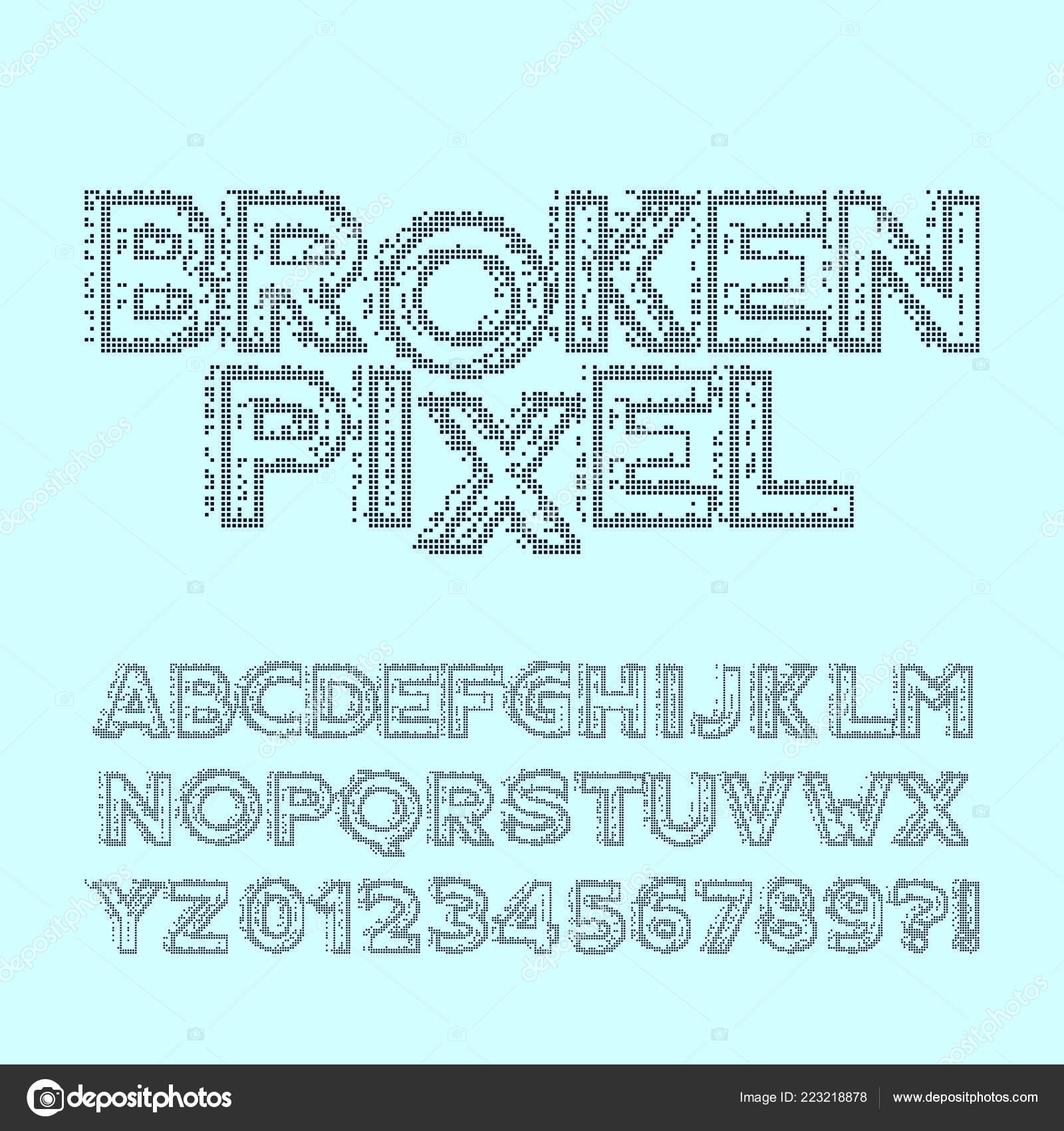 Broken Pixel Alphabet Font Glitch Digital Letters Numbers