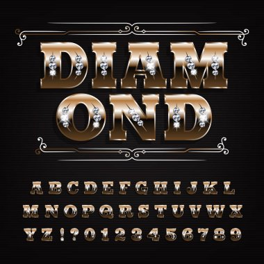 Diamond alphabet font. Ornate golden letters and numbers with gemstones. Stock vector typography for your design.