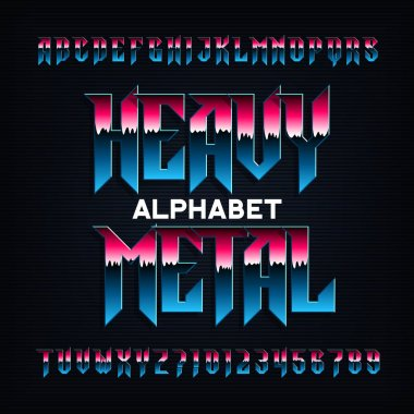 Heavy metal alphabet font. Metal effect beveled letters, numbers and symbols. Stock vector typescript for your design.