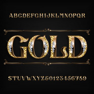 Ornate gold alphabet font. Jeweler golden letters and numbers with diamond gemstones. Stock vector typescript for your design.