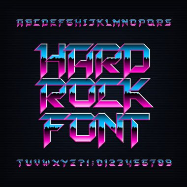 Hard rock alphabet font. Metallic beveled colorful letters, numbers and symbols. Stock vector typescript for your typography design.