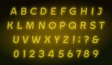 Yellow neon tube alphabet font. Neon color oblique letters and. Stock vector typescript for your typography design.