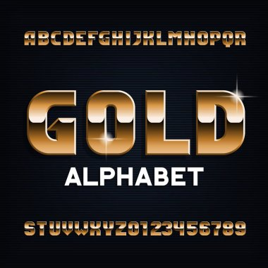 Gold alphabet font. Beveled metal color letters and numbers. Stock vector typescript for your design.