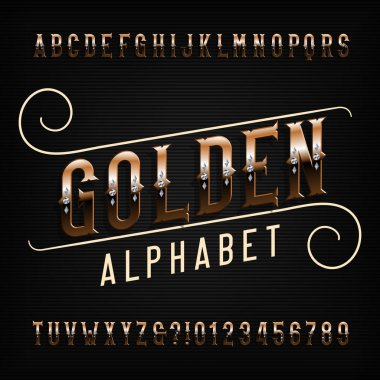 Golden alphabet font. Metal effect letters and numbers. Stock vector typescript for your typography design.