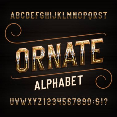 Ornate alphabet font. Golden effect letters and numbers with diamonds. Stock vector typescript for your typography design.