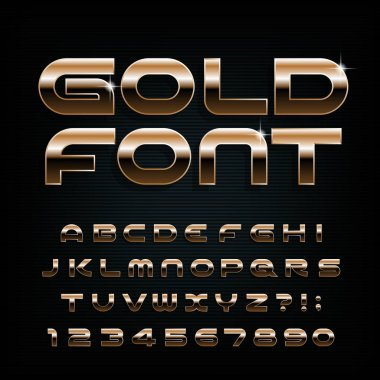 Gold alphabet font. Modern golden letters, numbers and symbols. Stock vector typescript for your design.