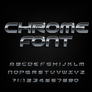 Chrome alphabet font. Beveled metal effect shiny letters and numbers. Stock vector typescript for your design.
