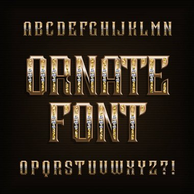 Ornate gold alphabet font. Vintage golden letters and numbers with diamonds. Stock vector typescript for your typography design.