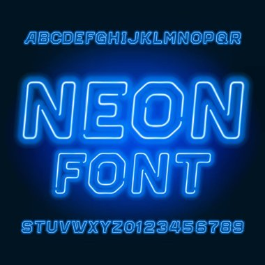 Blue neon tube alphabet font. Neon color oblique letters and numbers. Stock vector typescript for your typography design.