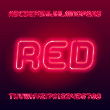 Red neon tube alphabet font. Neon color oblique letters and numbers. Stock vector typescript for your typography design.