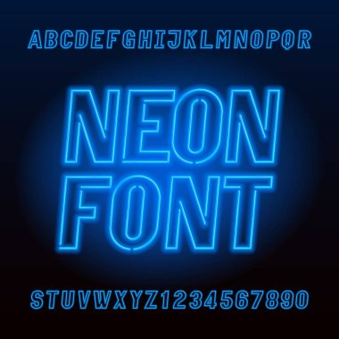 Blue neon tube alphabet font. Neon color oblique capital letters and numbers. Stock vector typeface for your design.