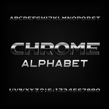Chrome alphabet font. Metallic effect oblique letters and numbers. Stock vector typescript for your design.