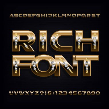 Rich font. Ornate gold alphabet. Golden letters and numbers with gemstones. Stock vector typeface for your typography design.