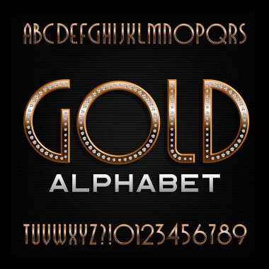 Ornate gold alphabet font. Art deco golden letters and numbers with diamond gemstones. Stock vector typography for your design.