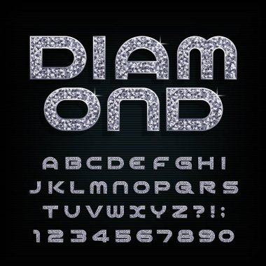 Diamond alphabet font. Luxury crystal letters and numbers. Stock vector typescript for your design.