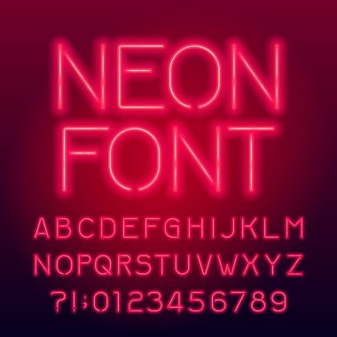 Red neon tube alphabet font. Neon color uppercase letters and numbers. Stock vector typography for your design.