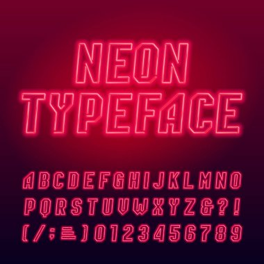 Red neon tube alphabet typeface. Neon color uppercase letters, numbers and symbols. Stock vector font for your design.