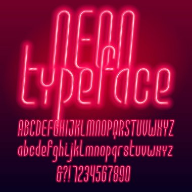 Red neon tube alphabet typeface. Neon color uppercase and lowercase letters, numbers and symbols. Stock vector font for your design.