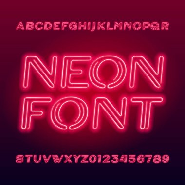 Vibrant neon tube alphabet typeface. Neon color uppercase letters and numbers. Stock vector font for your design.